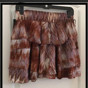 Elizabeth & James ruffled mini skirt brown/ivory